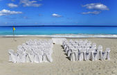 Wedding on tropical beach. Chairs and — Stock Photo