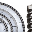 Circular Saw blades and drill of the big diameter - Stock Photo