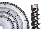 Circular Saw blades and drill of the big diameter — Stock Photo