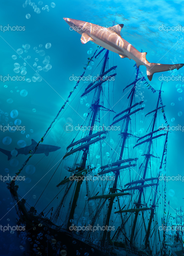 Sinking ship on sea bottom  and sharks — Stock Photo #3311744