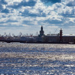 "Russia. Saint petersburg. Silhouette of ""arrow Vasilievsky island"" and seap — Stock Photo"