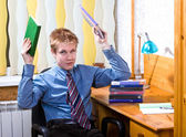 Teenager schoolboy was tired from lessons — Stock Photo
