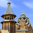 Wooden orthodox church in name of Cover All-holy mother of God, Russia (Pok — Stock fotografie