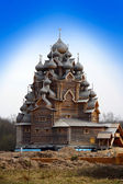 Wooden orthodox church in name of Cover All-holy mother of God, Russia (Pok — Stock Photo