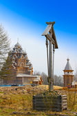 Wooden orthodox church in name of Cover All-holy mother of God — Stock Photo