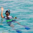Man in flippers and mask in ocean, Maldives — Stock Photo #3706219