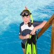 The boy with flippers, mask and tube for scuba diving. Maldives — Stock Photo