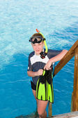 The boy with flippers, mask and tube for scuba diving. Maldives — Stockfoto
