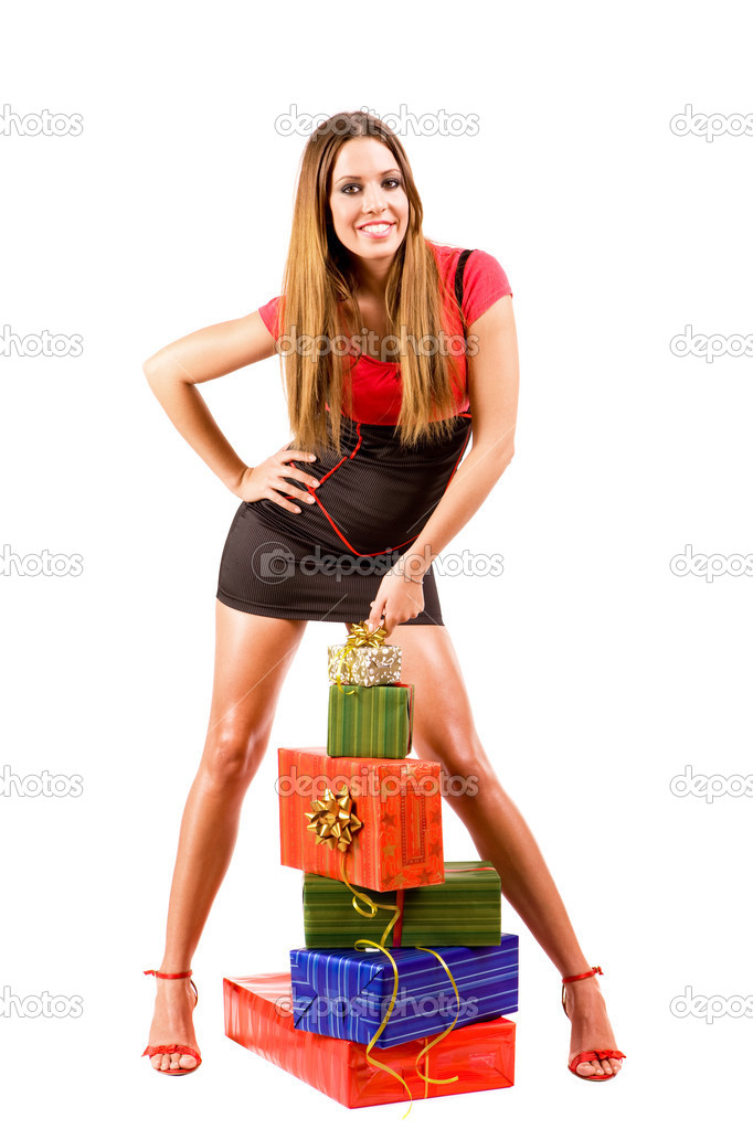 Attractive shopping girl with colorful bags. — Stock Photo #3324604