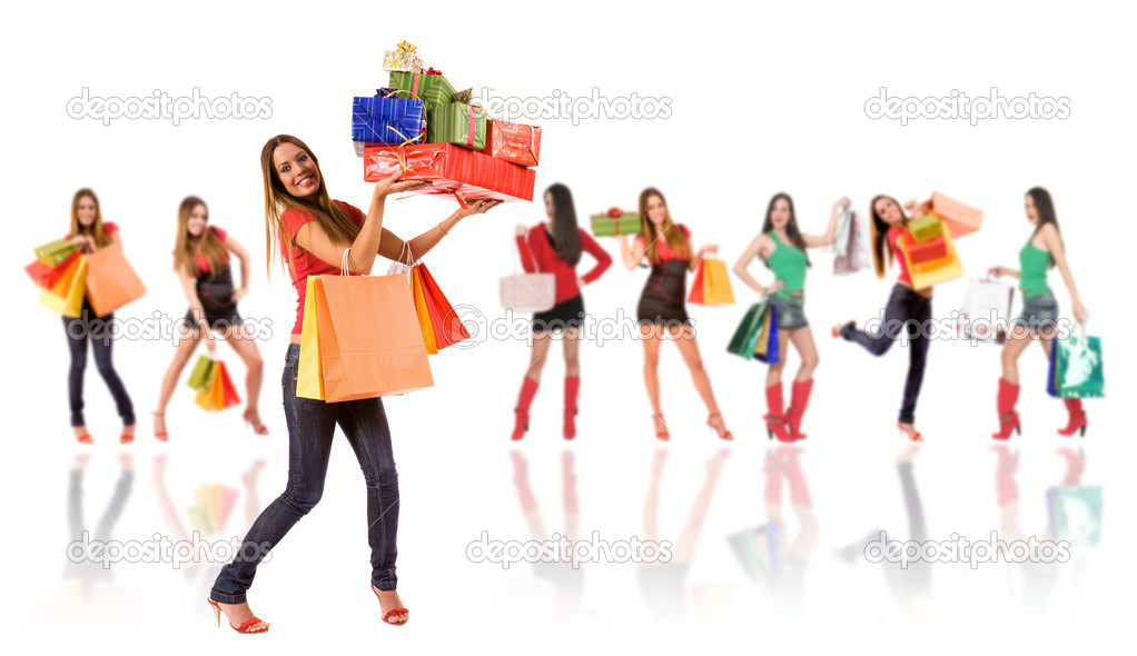 Shopping woman with bag and gift boxes and blurred girl in background. — Stock Photo #3404753