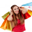 Stock Photo: Beautiful shopping girl with colorful bags