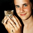 Girl and kitten - Stock Photo
