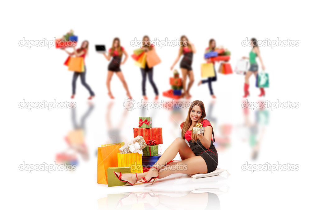 Shopping woman with gift boxes and bags .  Stock Photo #3912174