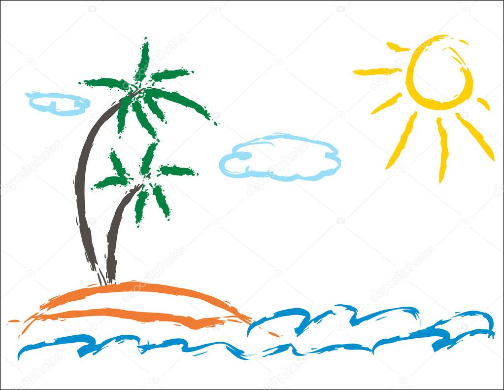 Child picture of palm and sea — Stock Vector #2863596