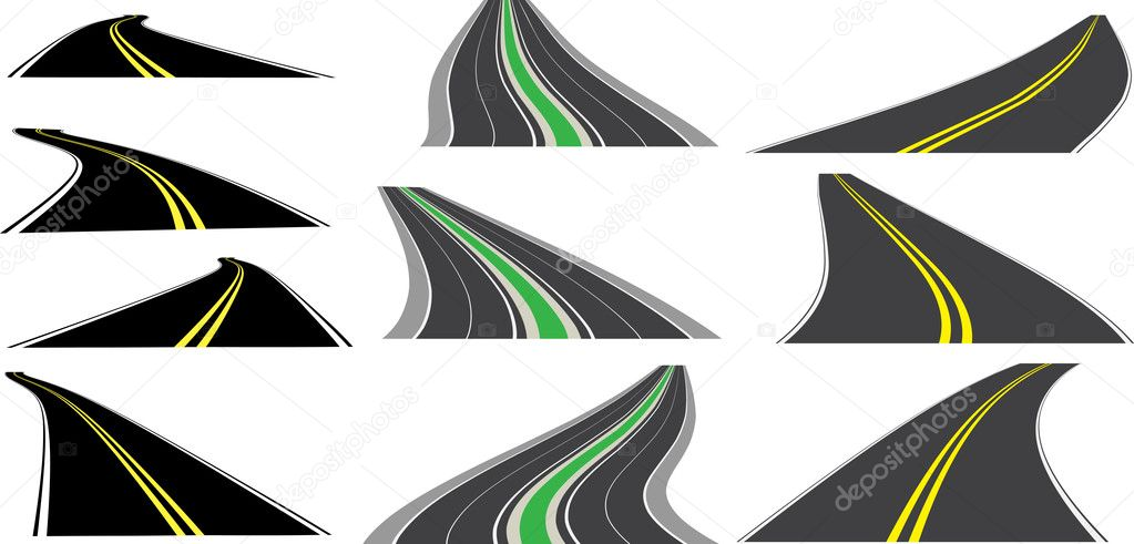 Vector perspective roads — Stock Vector #3082191