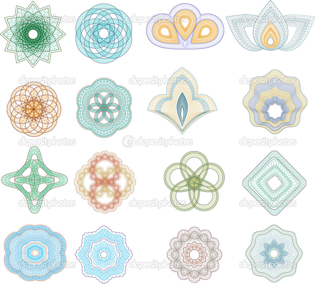 Vector set of guilloche rosette — Stock Vector #3599443
