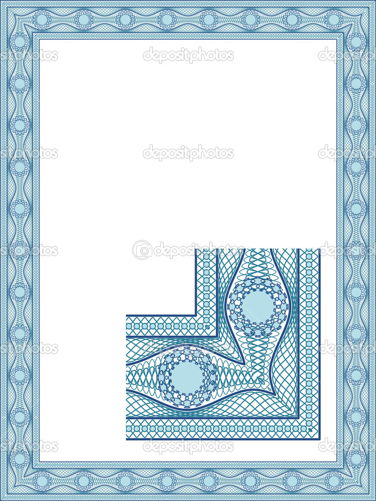 Classic guilloche border for diploma or certificate — Stock Vector #3627544