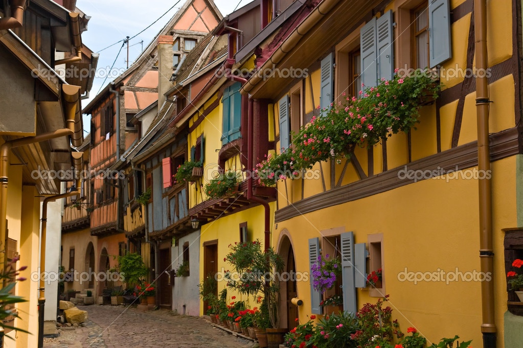 Timbered houses in the village of Eguisheim in Alsace, France — Stock Photo #3772695