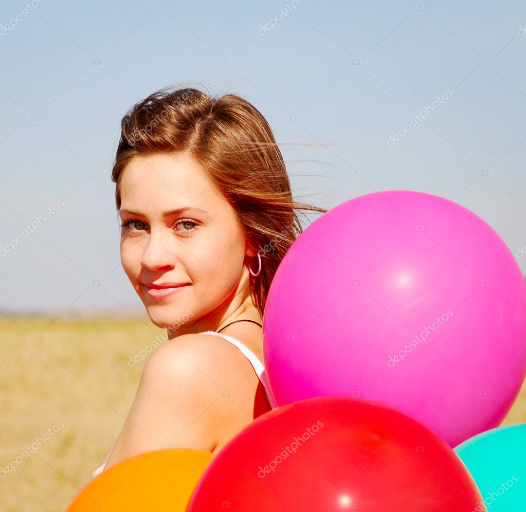 Young beauty girl with balloons — Stock Photo #3741993