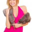 woman with fur — Stock Photo
