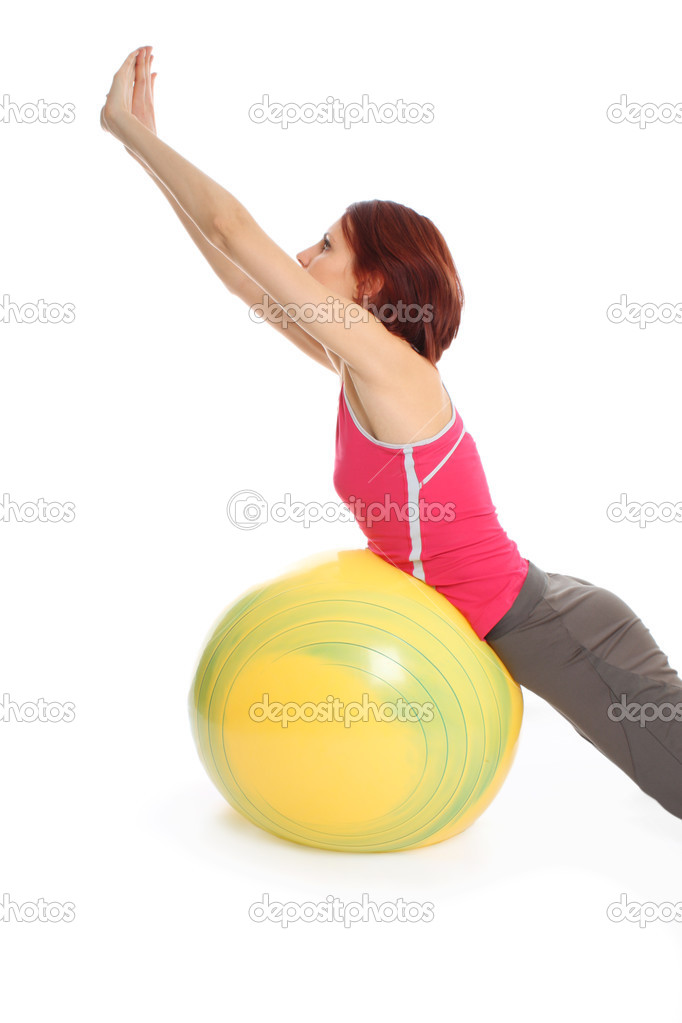 Young girl with fit ball — Stock Photo #2798416