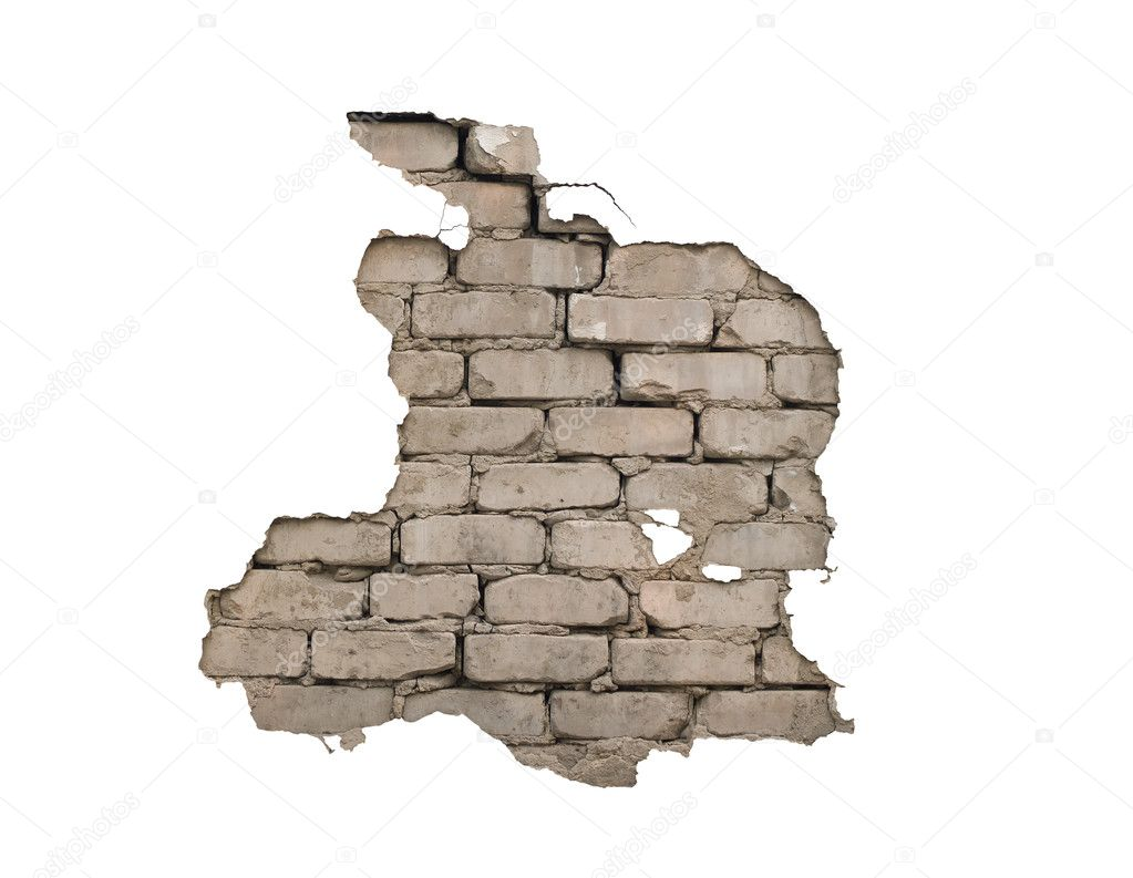 Through a hole in a wall it is visible bricks — Stock Photo #3656632