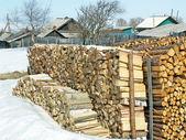 A madeira de fogo combinado — Foto Stock