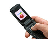 Mobile phone with picture of apple — Stock Photo