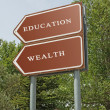 Road sign to eduacation and wealth — Stock Photo