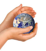 Hand with planet earth — Stockfoto