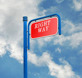 Road sign for right way — Foto Stock