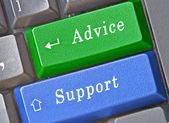Hot keys for advice and support — Foto de Stock
