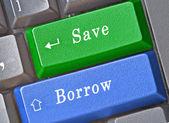 Gorący klawisz zapisz i pożyczyć — Zdjęcie stockowe