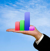 Showing a bar chart — Stock Photo