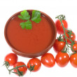 Tomato soup with tomatoes — Stock Photo