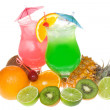 Alcohol cocktails with fruits — Stock Photo
