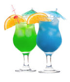 Blue curaçao e cocktails verdes — Foto Stock