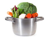 Pan with fresh vegetables for soup — Stock Photo