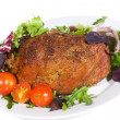 Roast pork with vegetables - Stock Photo