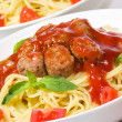 Pasta with meatballs and vegetables — Stock Photo #3275736