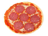 Pizza with salami — Стоковое фото