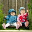 Stock Photo: Two children on the swings