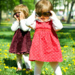 Two funny girls in sunglasses — Stock Photo