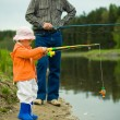 Father with daughter fishing — Stock Photo