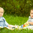 Two boys on the grass — Stock Photo