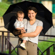 Mother with son under umbrella — Stock Photo #2764133