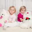 Two girls with teddy bears — Stock Photo