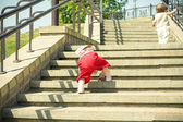 Children up the stairs — Stock Photo
