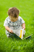 Little boy reading book — Stock Photo