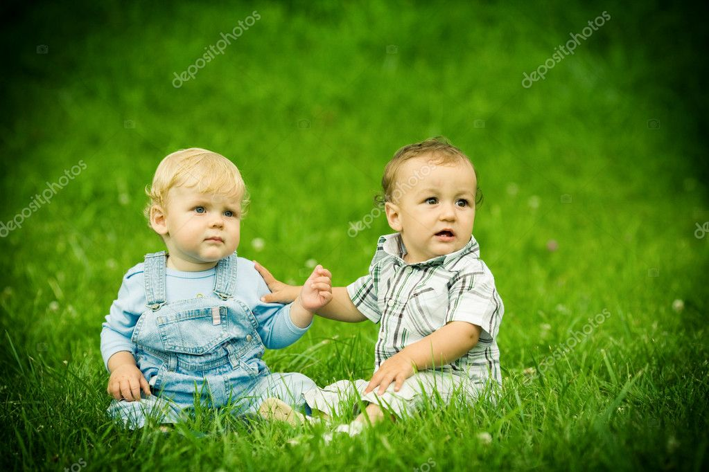 Two boys on the grass — Stock Photo #2764185
